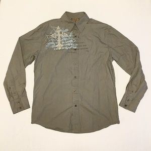 Roar Mens Long Sleeve Shirt Button L Embroidered